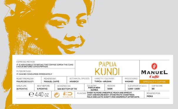 Manuel Caffe Pápua Új-Guinea Kundi 100% arabica specialty kávé - 500 gr fémhengerben