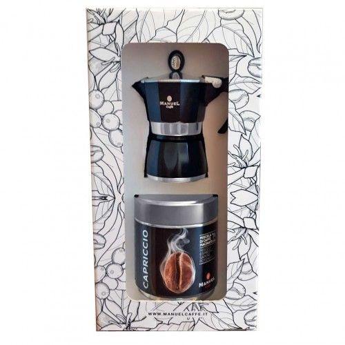 Díszdobozos egyszemélyes kotyogós kávéfőző + 125 gr őrölt Capriccio kávé